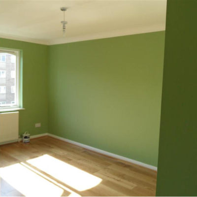 Green painted room. Decorated by MJ Harwood Painters & Decorators Leeds