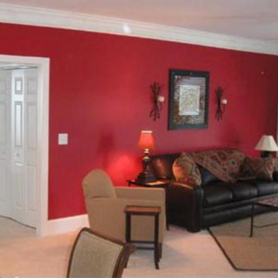 Red painted room, decorated by MJ Harwood.